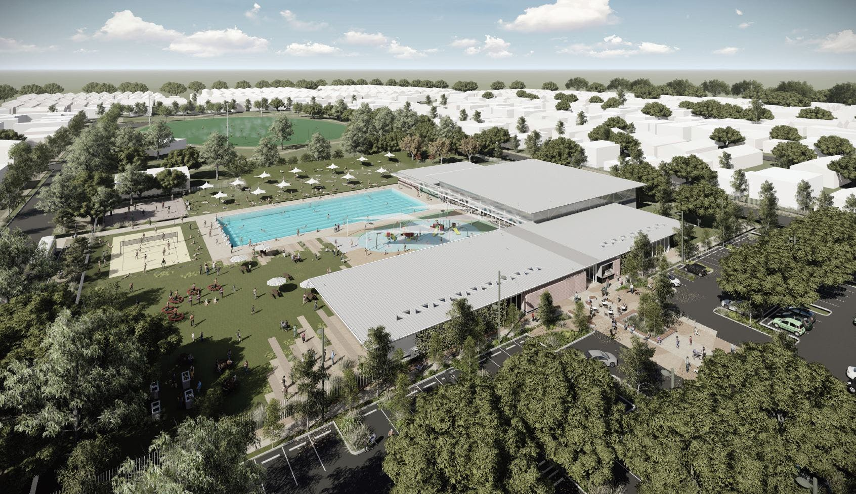 Option A - Redeveloped Swim Centre with indoor and outdoor pools and beach volleyball.