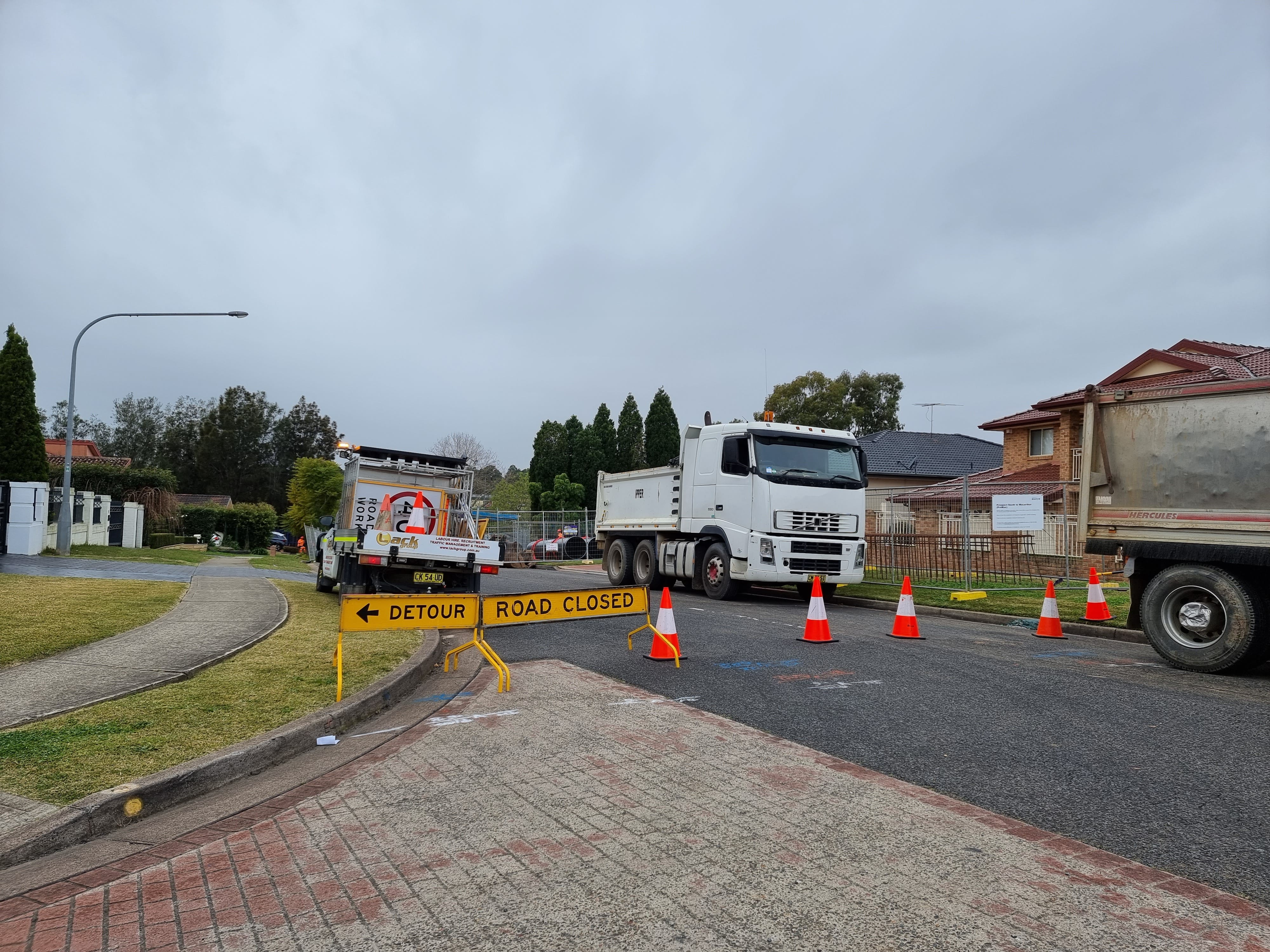 Cecil Hills, Feodore Drive construction work - July 2021