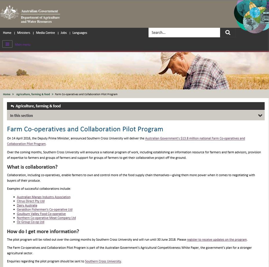 Farm Co-operatives and Collaboration Pilot Program
