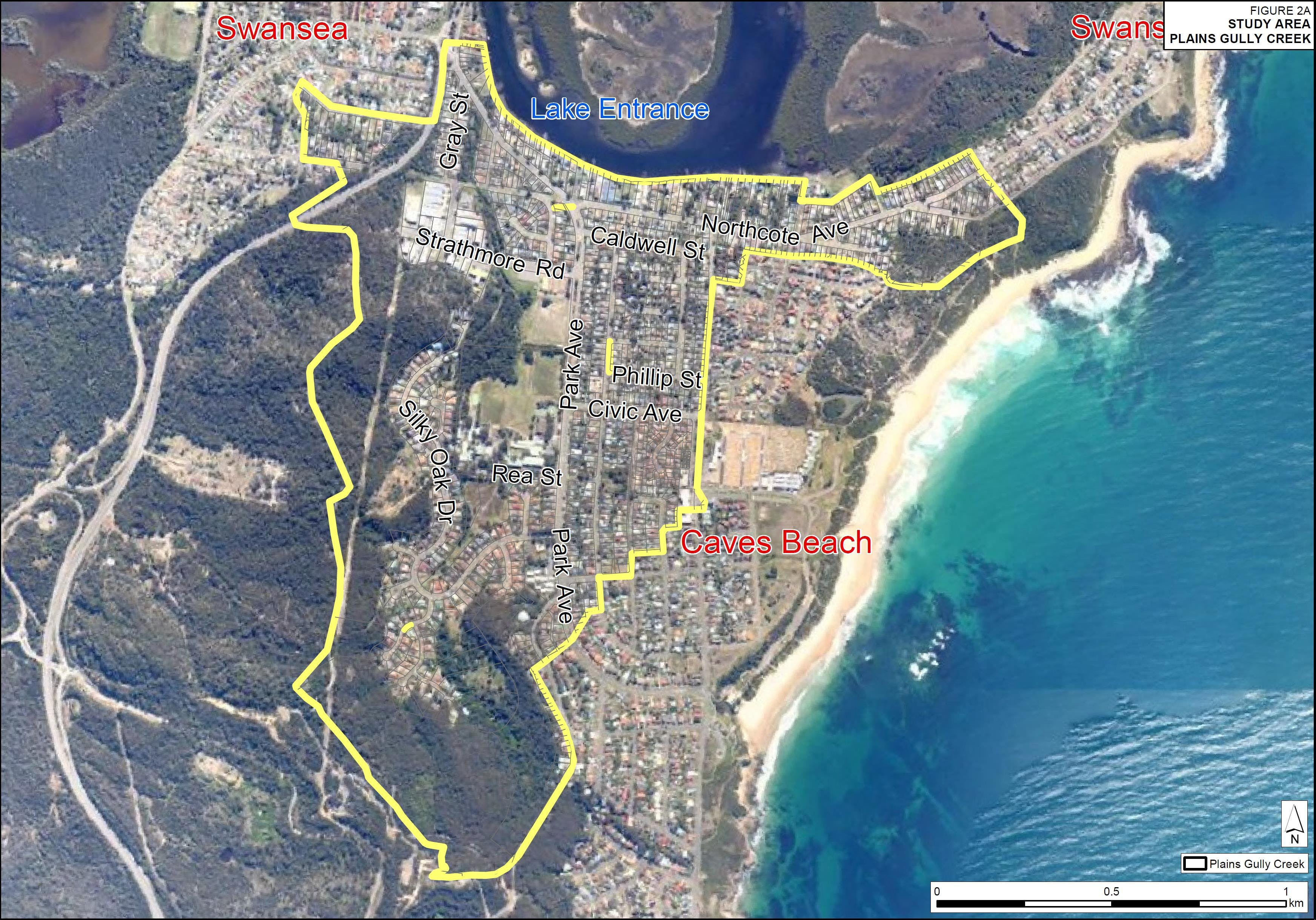 Plains Gully Creek at Swansea and Caves Beach flood study catchment