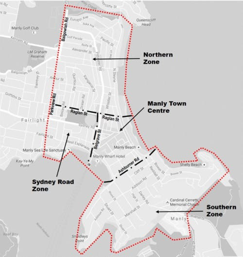 Manly PAMP Study Zone Boundaries