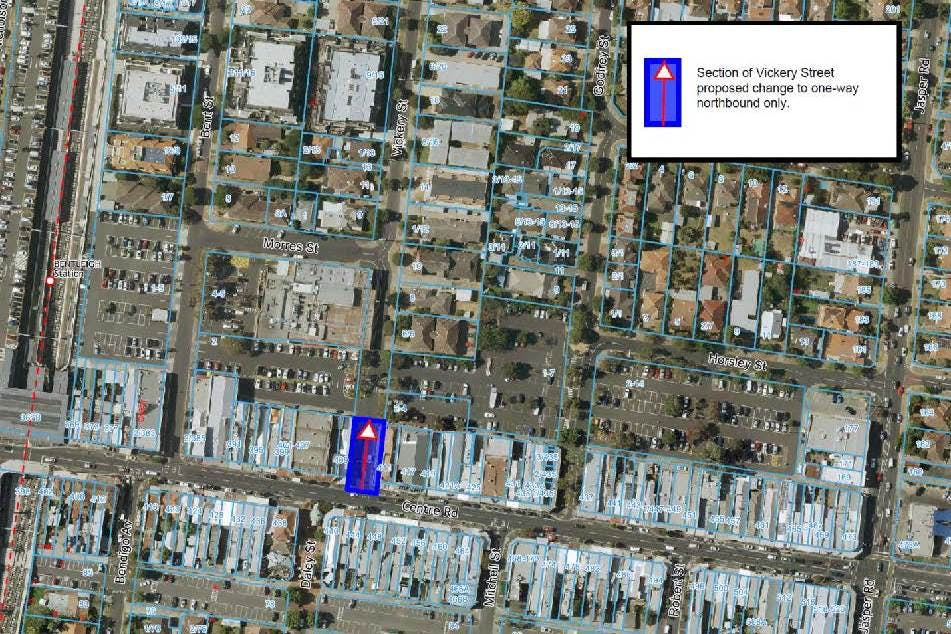 Map of proposed Vickery Street changes