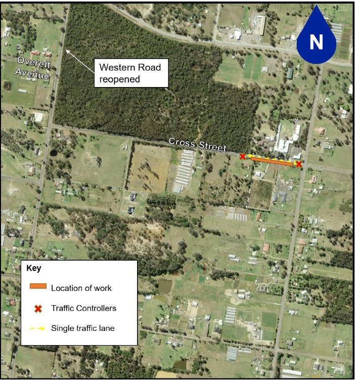 Kemps Creek - Cross St and Western Rd traffic changes during July school holidays