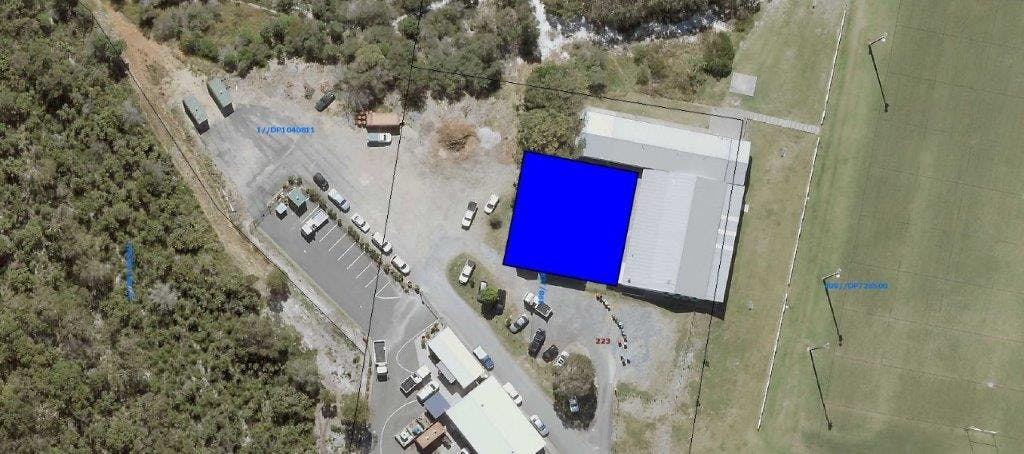 Area of proposed lease marked in blue