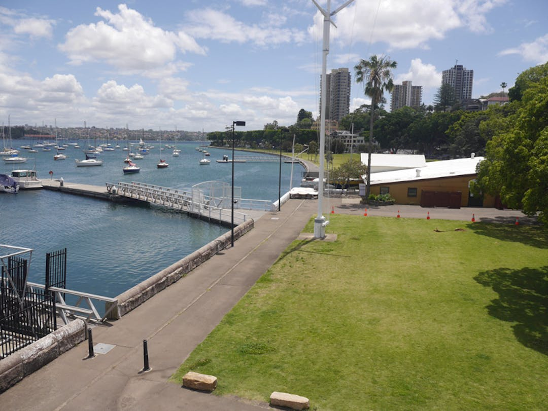 Aerial view of the waterfront of Sir David Martin Reserve
