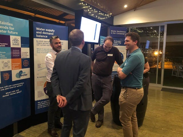 Hunter Water staff and Development Forum attendees discuss water resilience