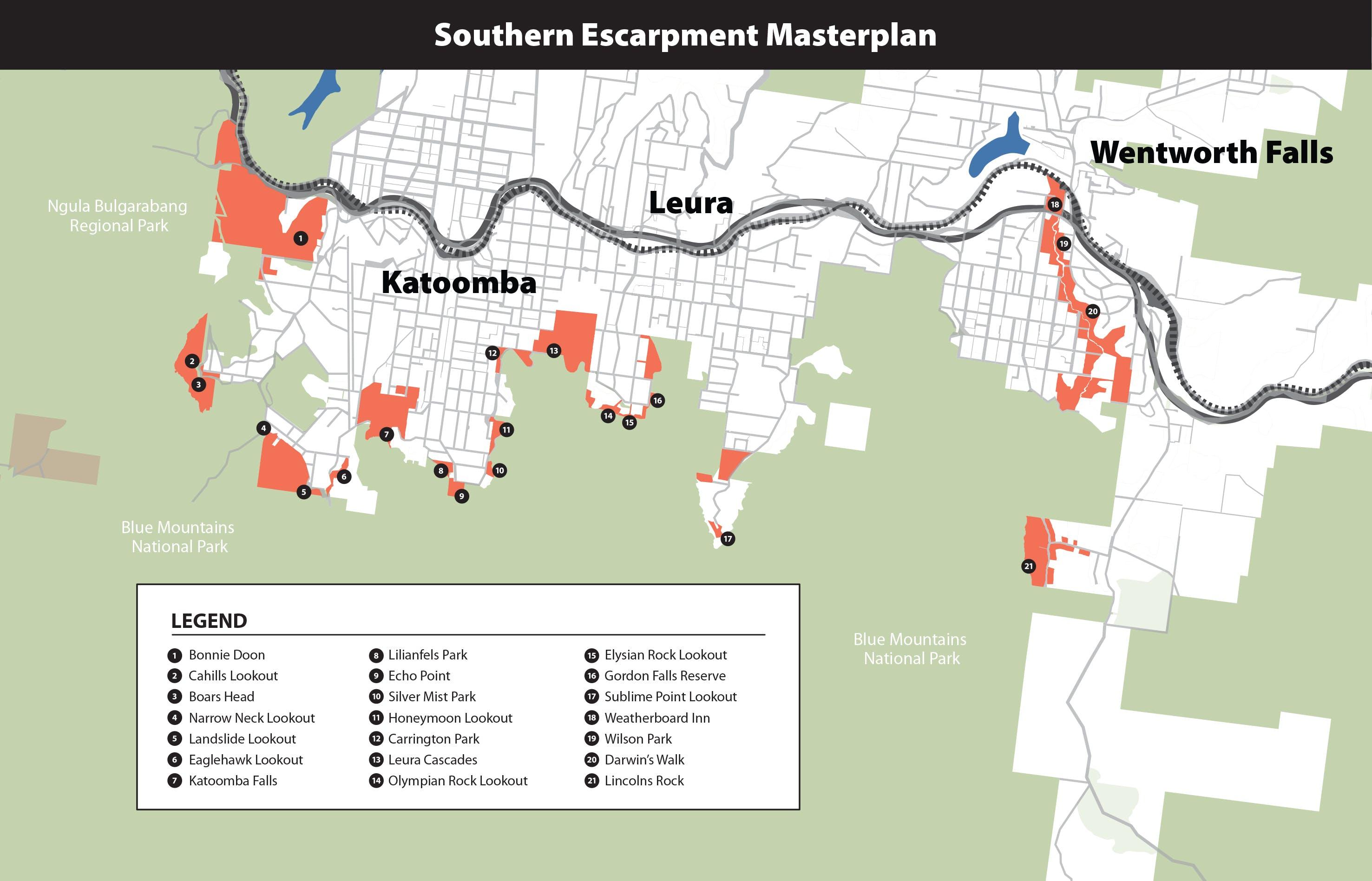 Southern Escarpment Masterplan Map