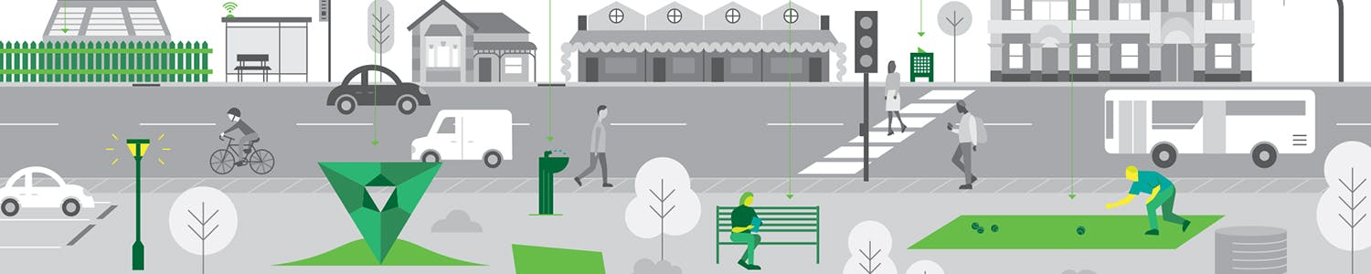 infographics of open space assets including fences, waste bins and seating