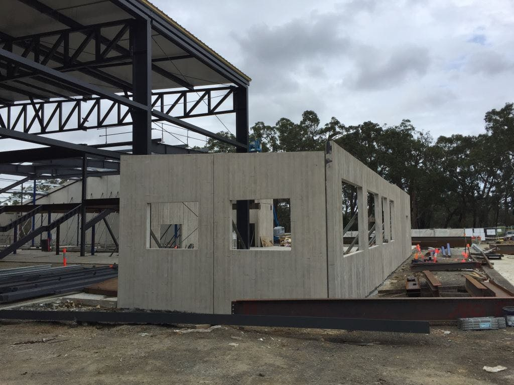 Precast panels installed to the kiosk, office external walls, external storage area and tournament office.