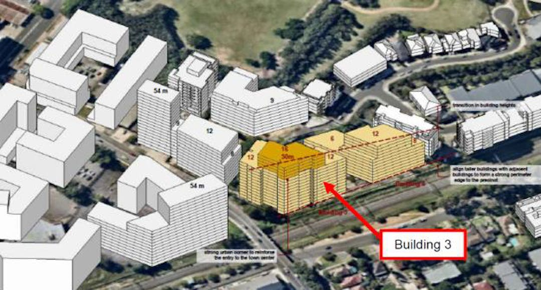 Massing diagram for the proposed development at 20-22 Dressler Ct, Merrylands, with surrounding future development depicted. Buildings up to 50m (16 storeys) are shown