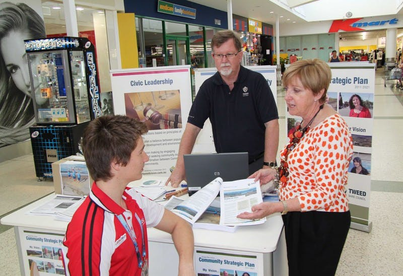 Councillor Joan van Lieshout and Council staff member Neil Baldwin (back) staff the Community Information Session at Tweed City.