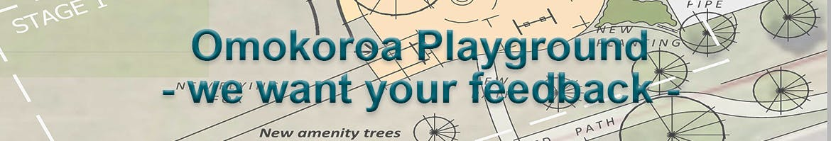 Banner about Omokoroa playground asking for feedback