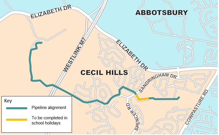 Cecil Hills - pipeline alignment and Stage 1 construction.png