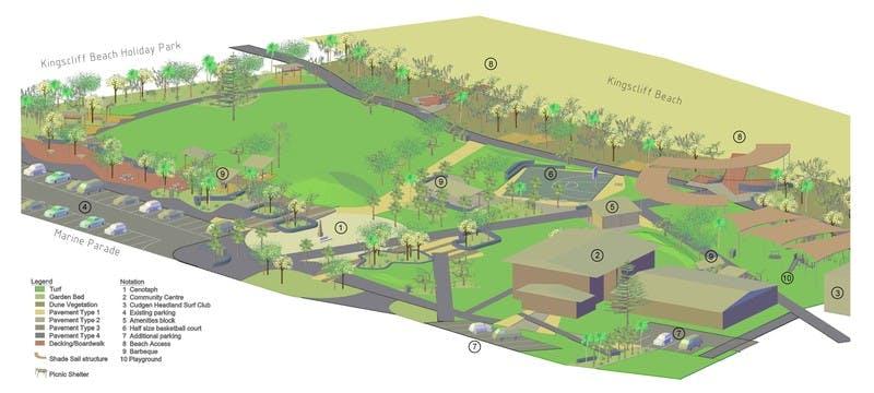 A 3D concept plan of Kingscliff Central Park
