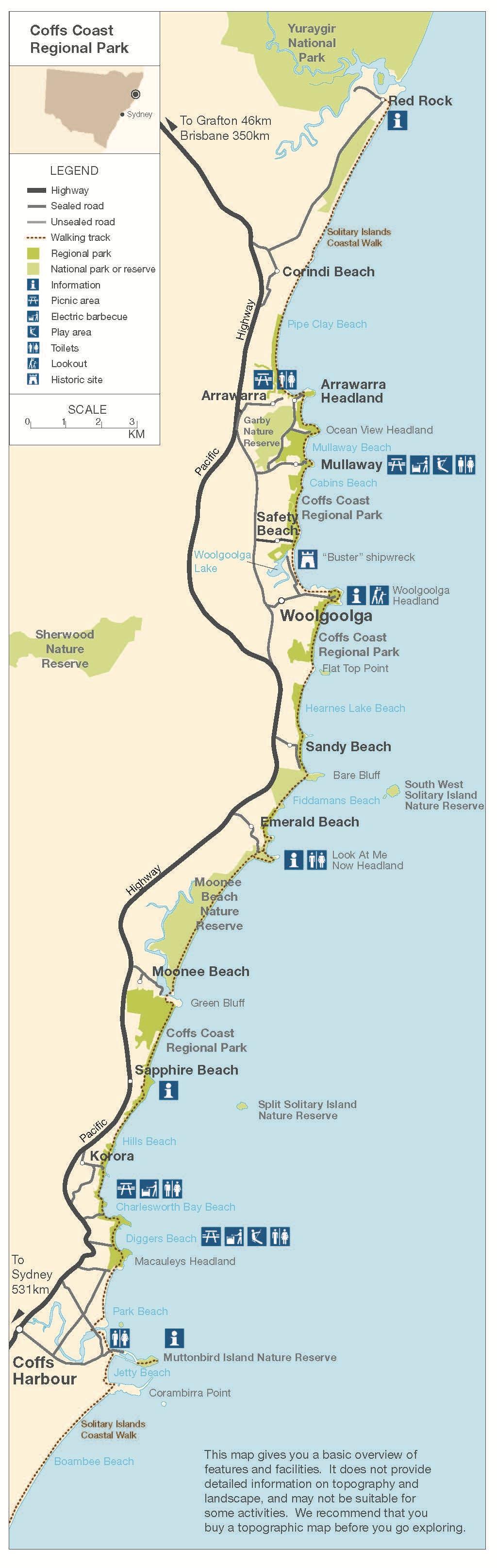 coffs-coast-regional-park-map