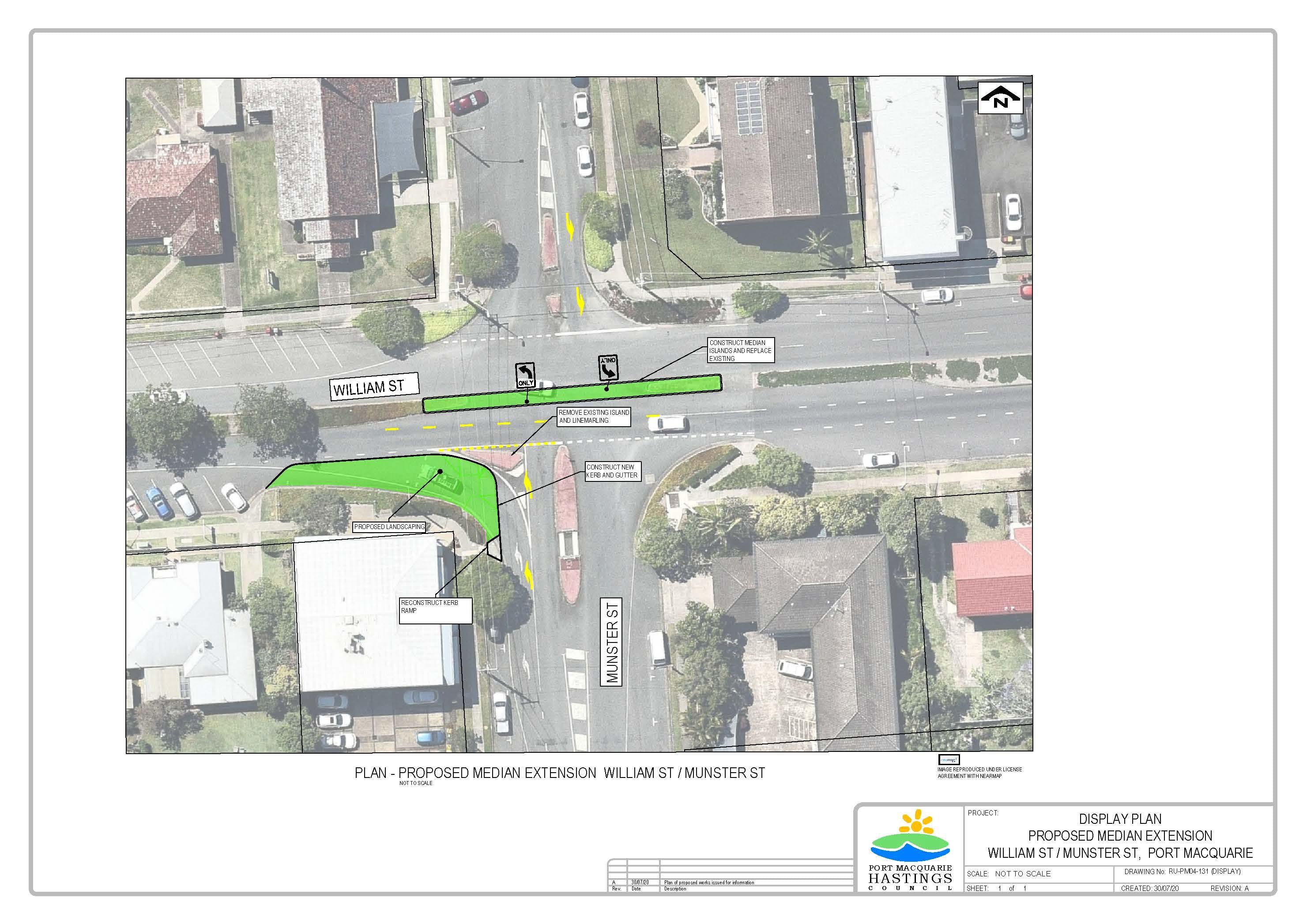 William St and Munster St central median  display plan