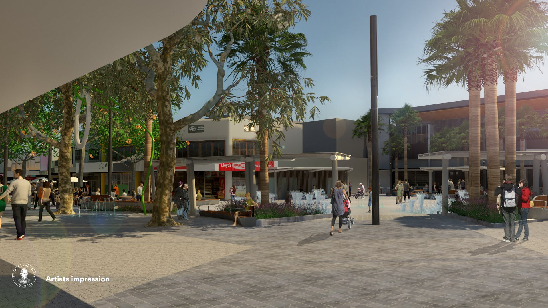 View of Cronulla Plaza from Cinema towards the Square