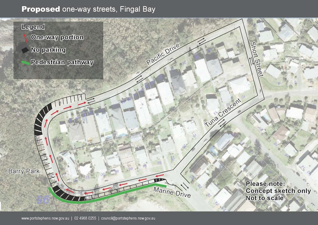 Proposed one way streets fingal bay