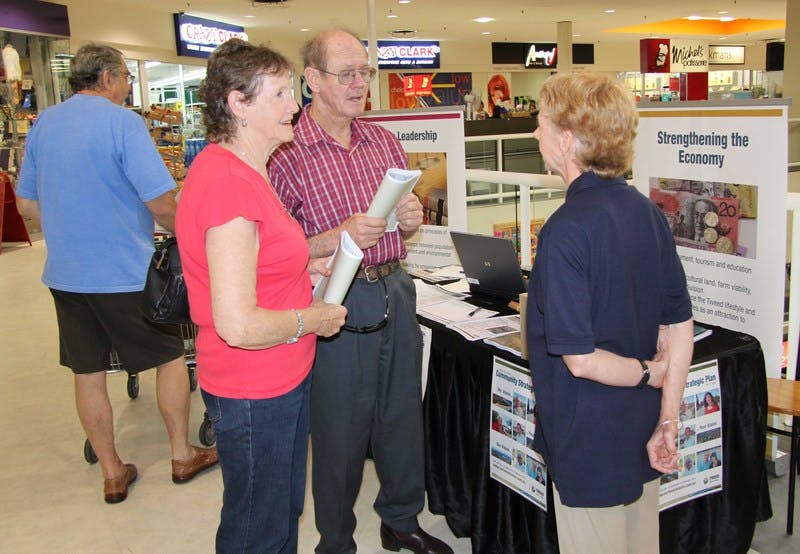 Council Corporate Performance Officer Paula Telford (right) speaks to shoppers during the Community Information Session at Sunnyside Shopping Centre.