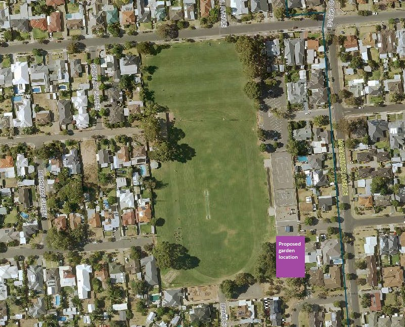 Bowker Oval Reserve- proposed garden location