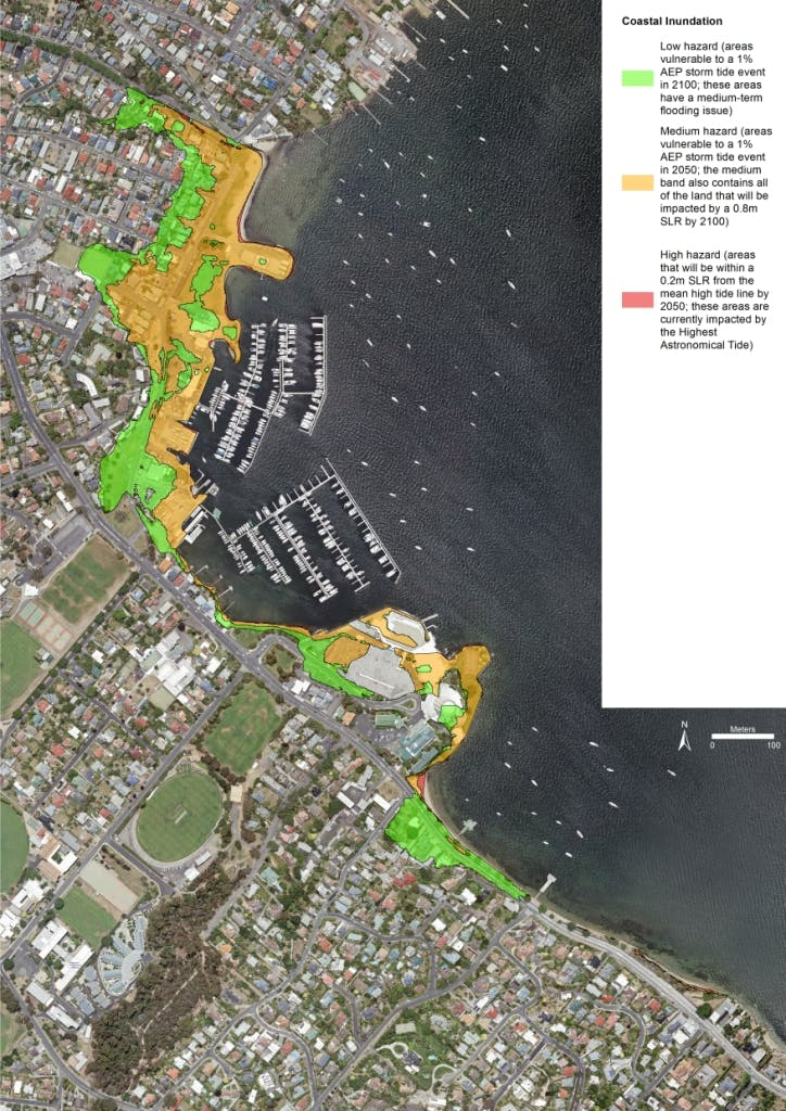 Coastal Hazard Mapping showing areas vulnerable to coastal inundation and erosion by 2100