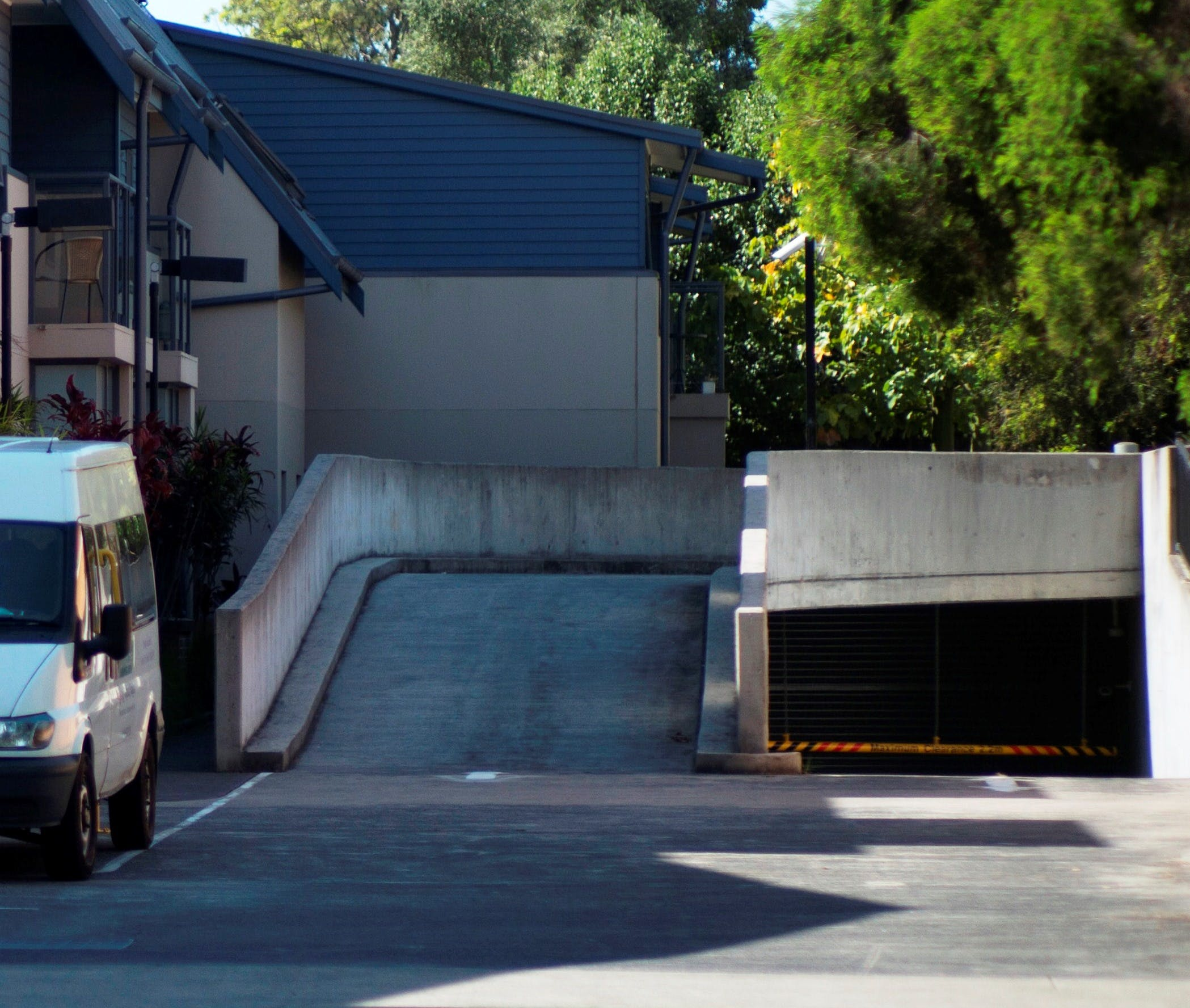 concrete ramp leading to a multilevel car park