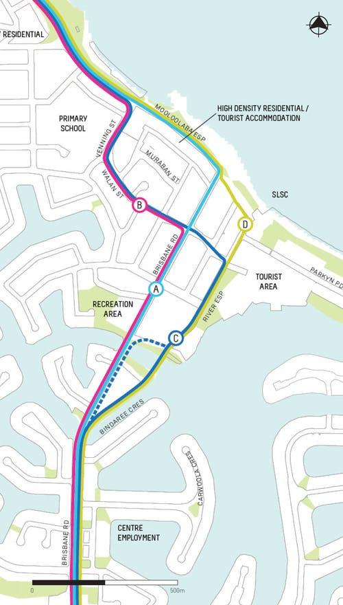 Mooloolaba route options map