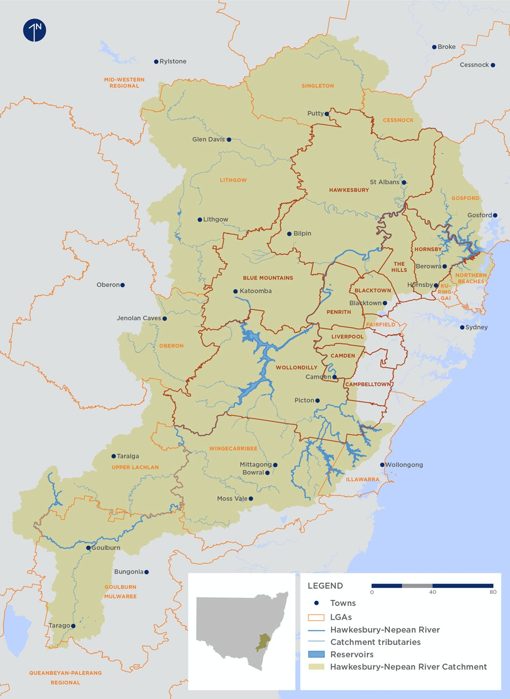 Map of the Hawkesbury-Nepean Catchment