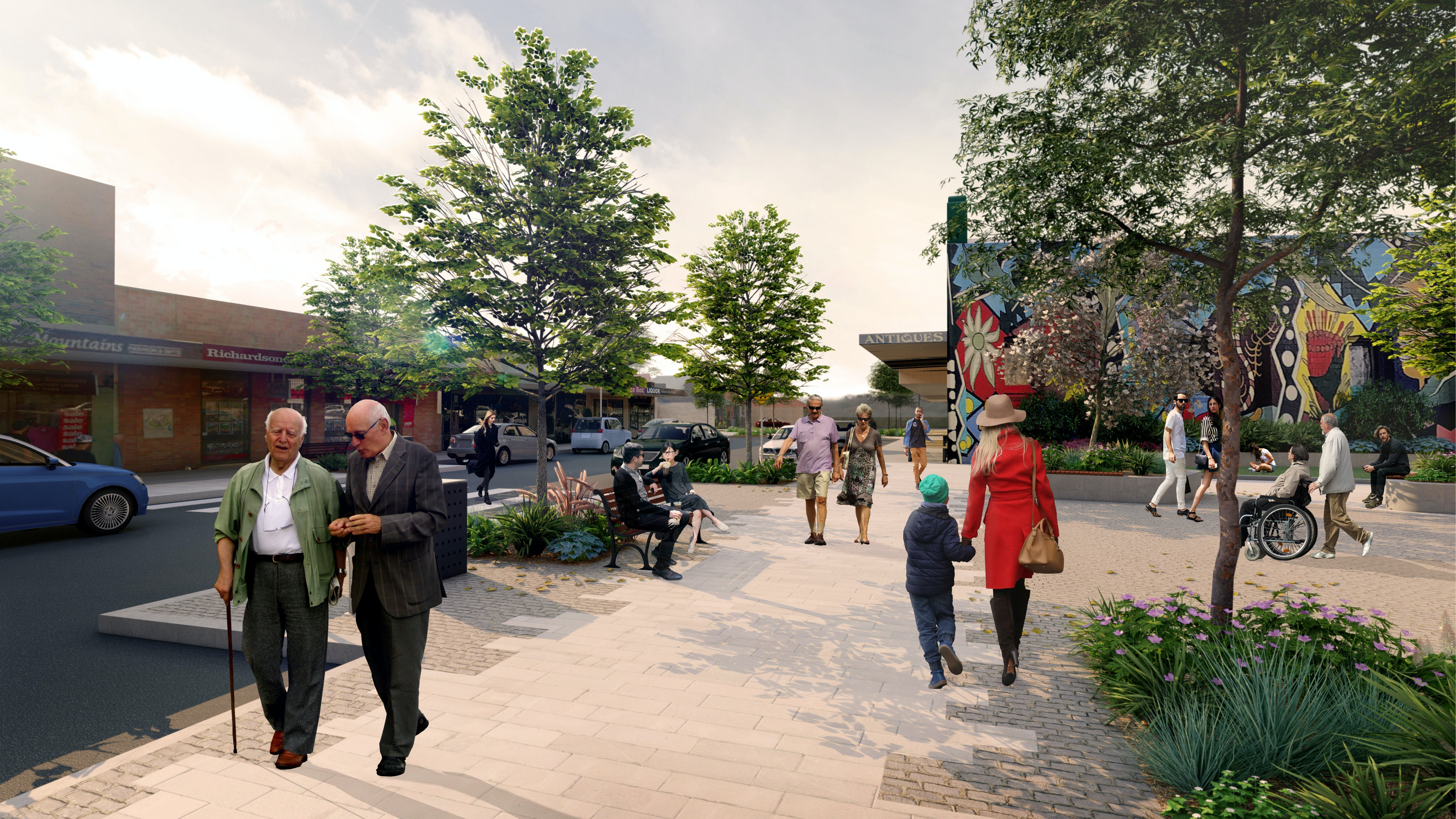 Proposed town square and pedestrian crossing