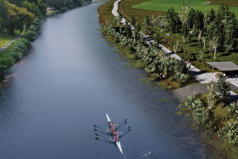 Artist impression of the river with landings, forest and walkways