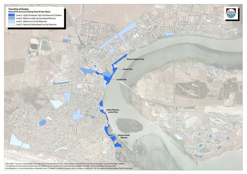 Map of parks-open space in Goolwa