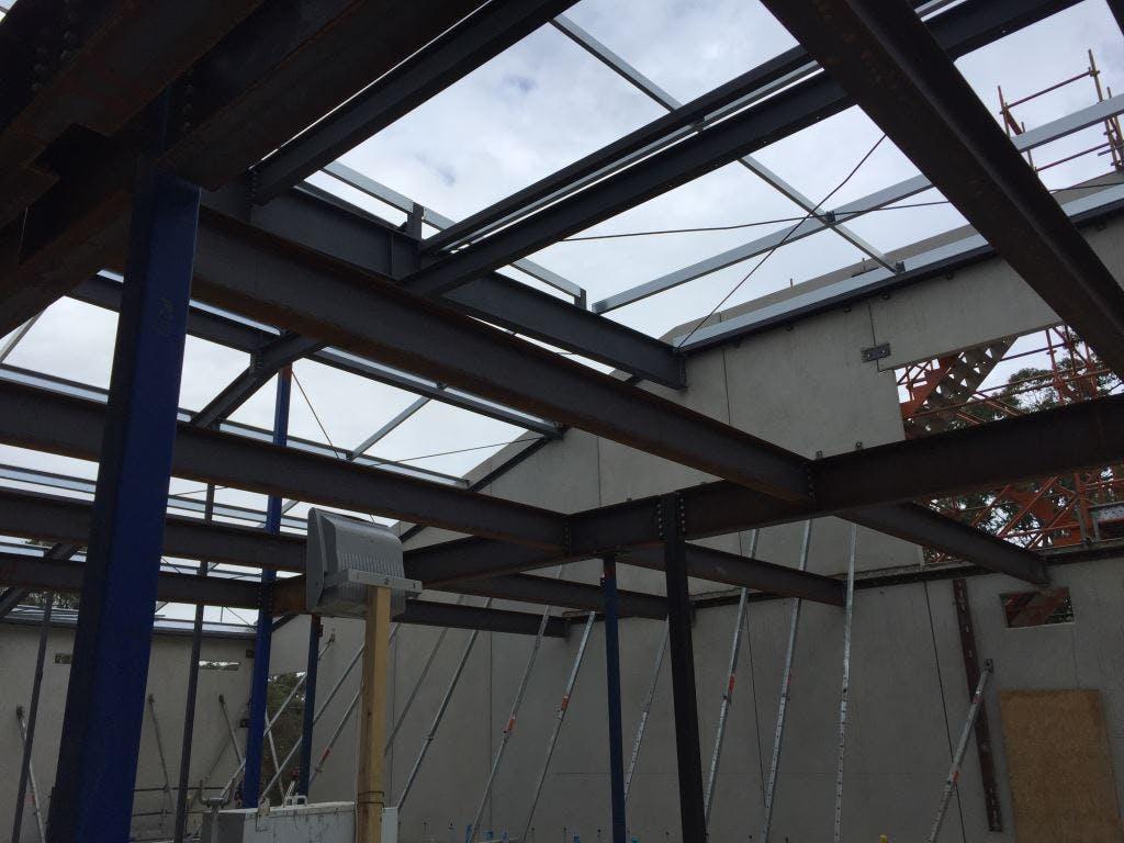 Steel progressing to the first floor admin area.