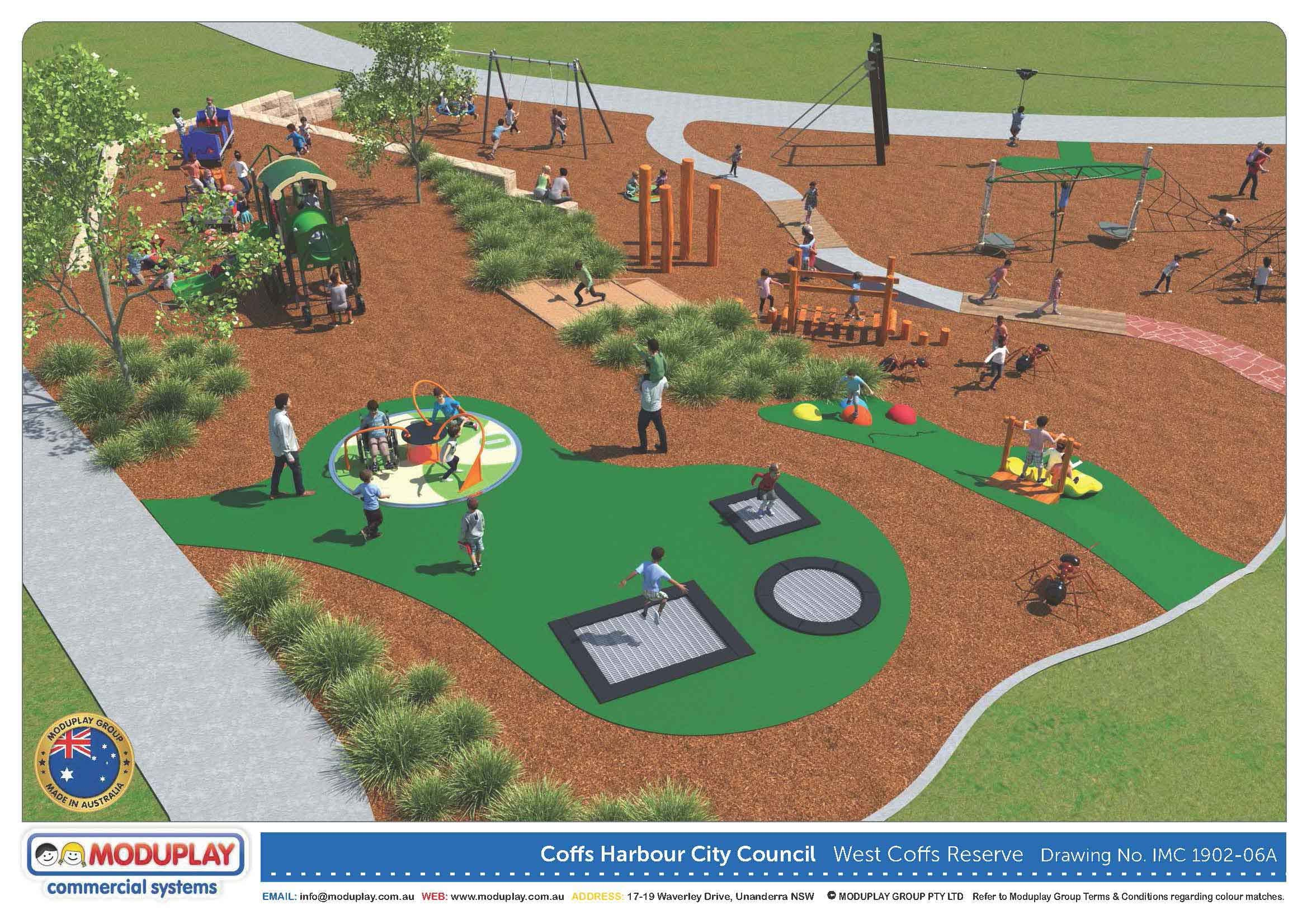 West coffs district park indicative playground overview
