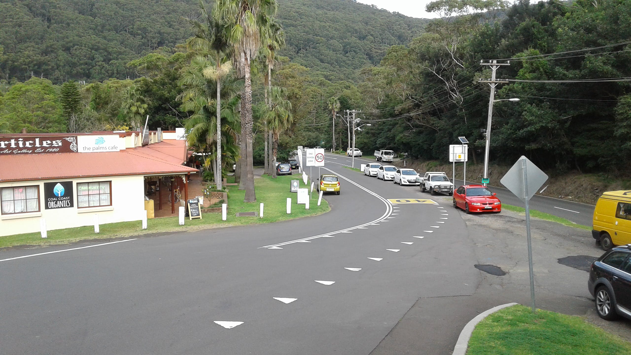 Road and streetscape at Stanwell Park that will be upgraded with new paving, tree planting, parking bays and other pedestrian access and safety improvements.