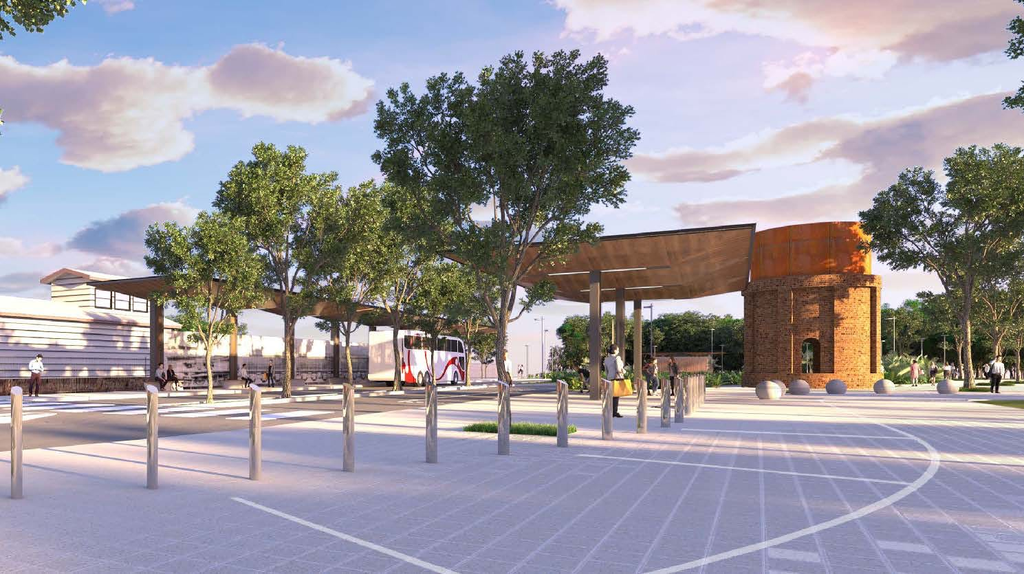Artist's impression of the Byron Bay Bus Interchange, subject to detailed design.