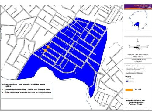 Locations of proposed works - South Marrickville