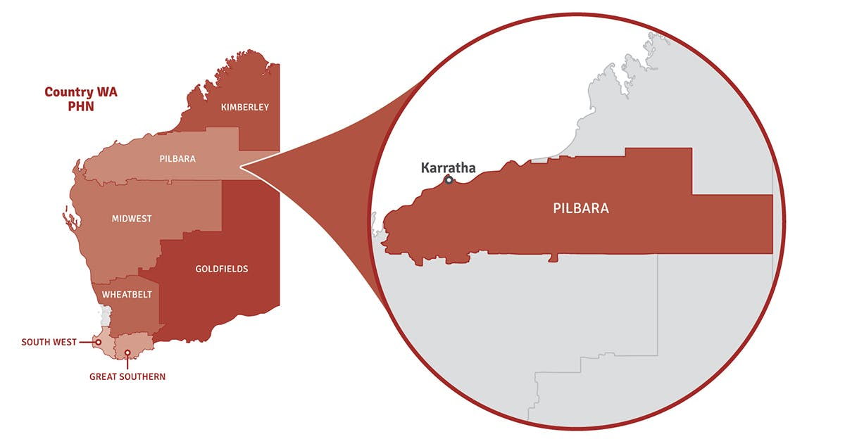 Map of Western Australia showing location of Pilbara region in a pop out circle.