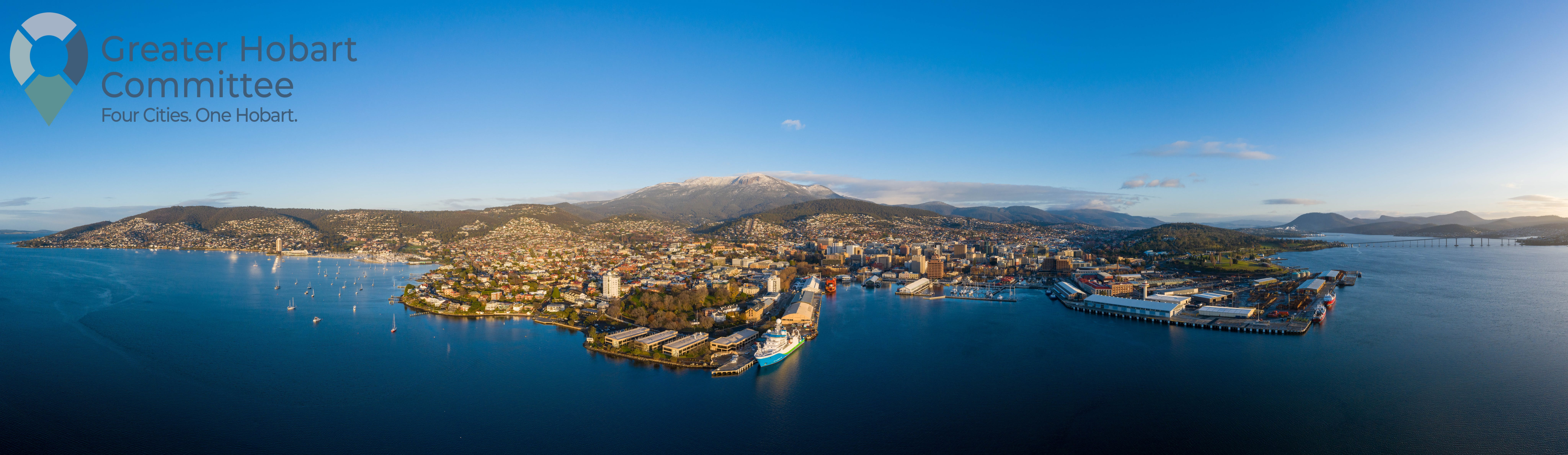 Aerial view of Hobart taken from the water