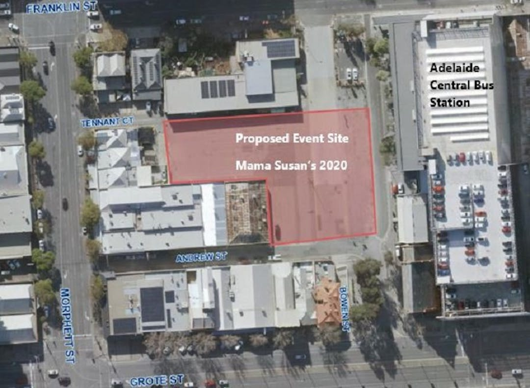 Ariel view of the proposed site of Mama Susan's Pop-up Food Festival situated between Franklin Street and Grote Street and adjacent to the Adelaide Central Bus Station.