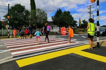 Pedestrian crossings with road patrollers