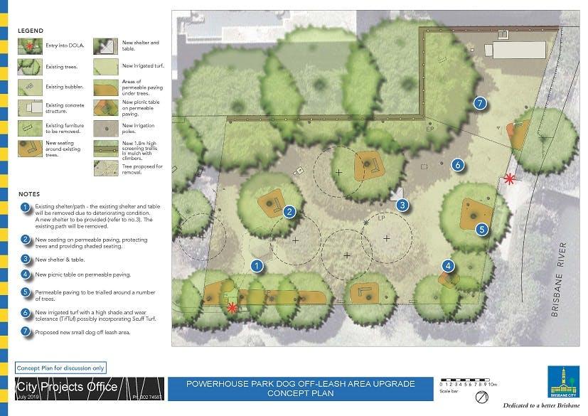 Powerhouse Park dog off-leash area proposed concept plan