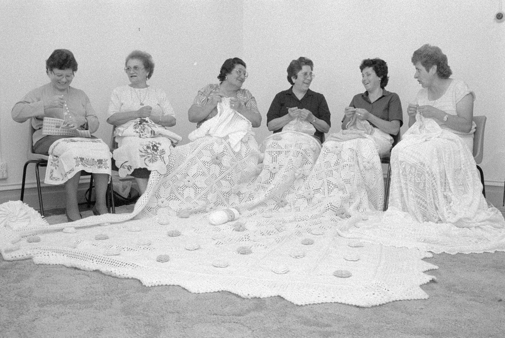 Italian women from the L' Amicizia Club doing needlework in St Paul's Church Hall