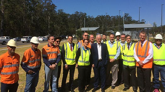 Pacific Highway upgrade team with PM Malcolm Turnbull