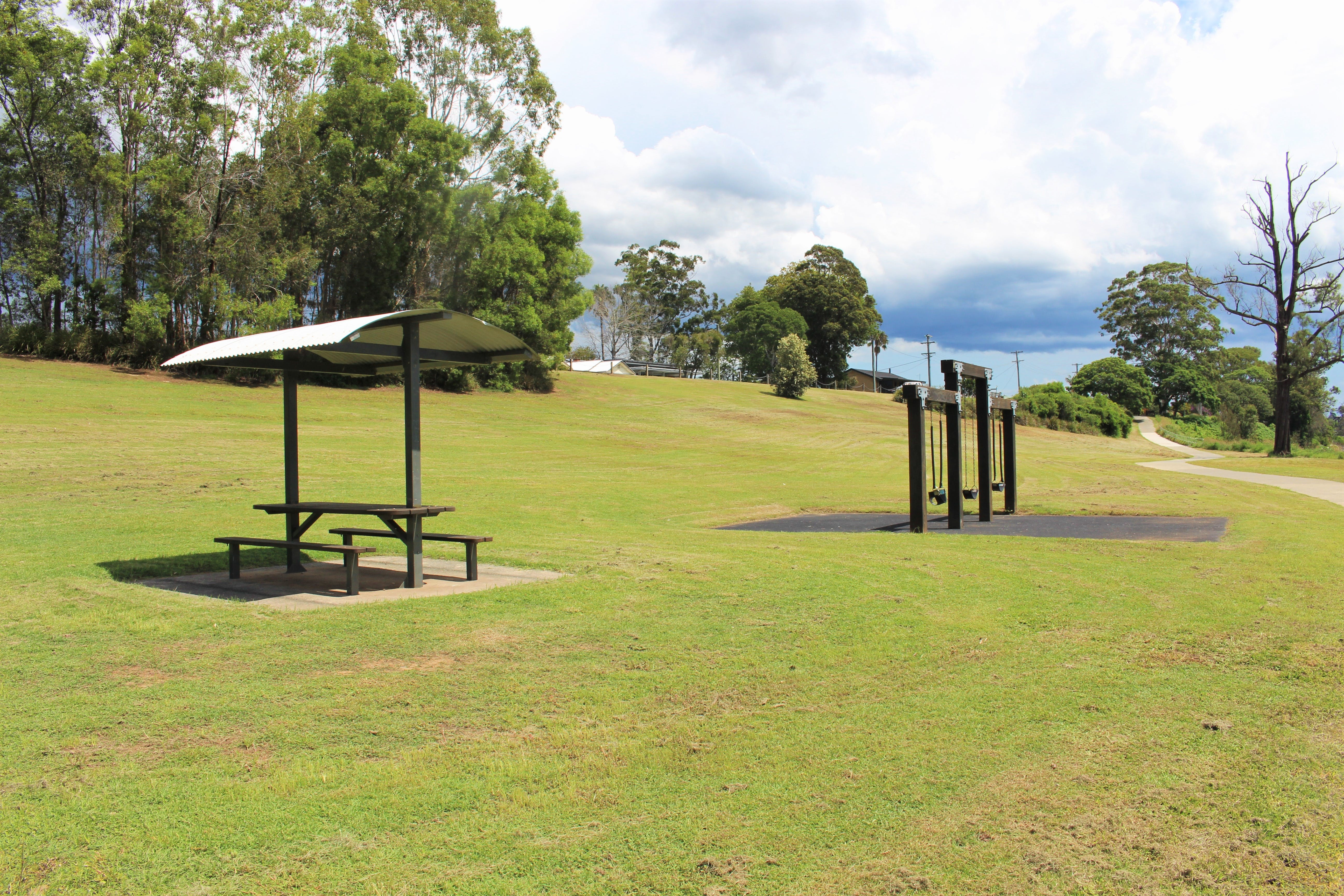 Existing covered seating and swings