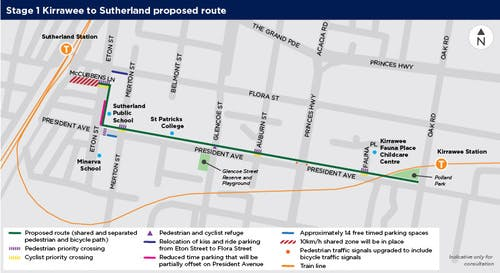 Stage 1 - Sutherland to Kirrawee proposed route map