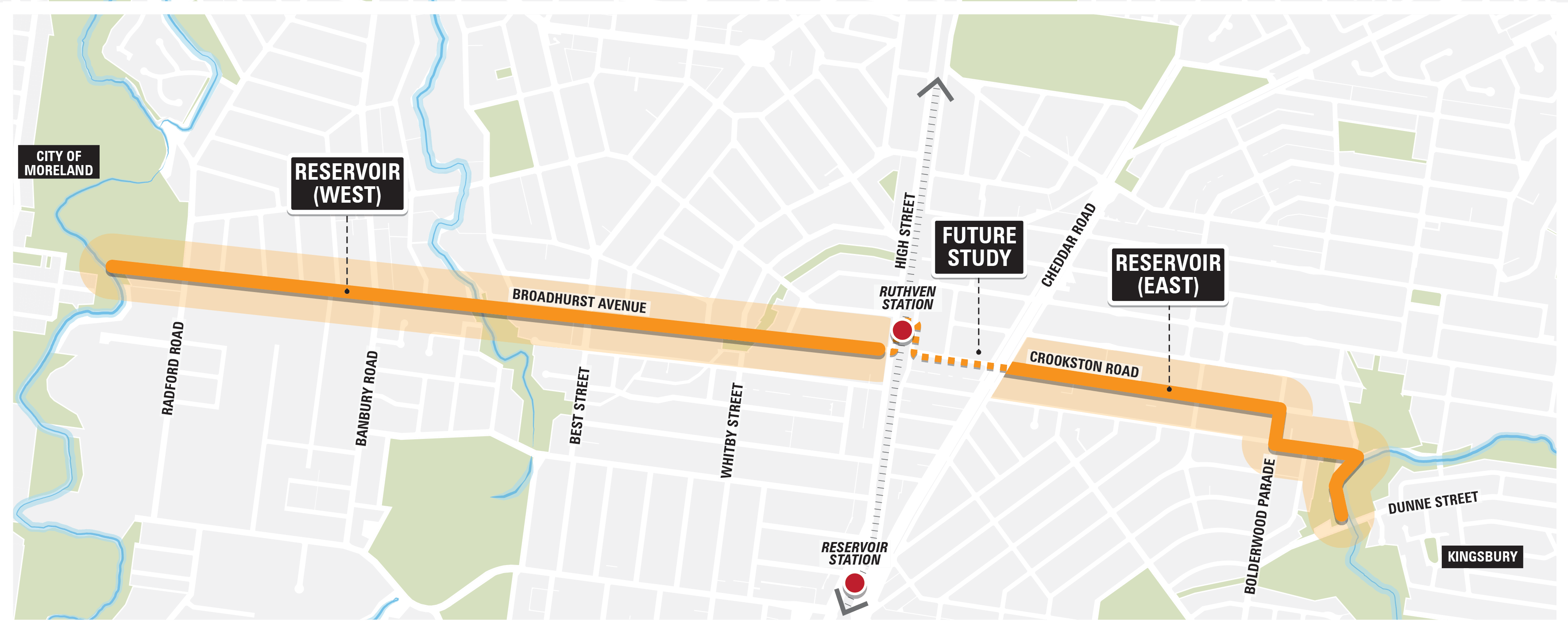 Map of Northern Reservoir Corridor, including Broadhurst Avenue from the Merri Creek to High Street, and Crookston Road from Cheddar Road to the Darebin Creek.