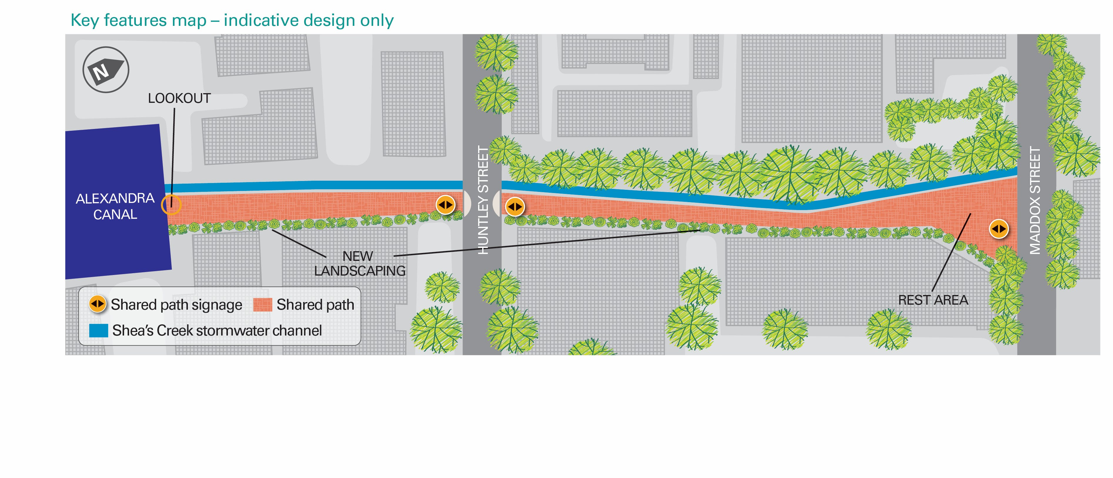Maddox Street to Alexandra Canal shared path (indicative design only)
