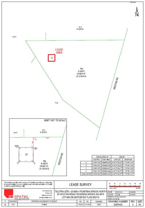 Proposed Lease area at 35 Weston Rd, Pickering Brook