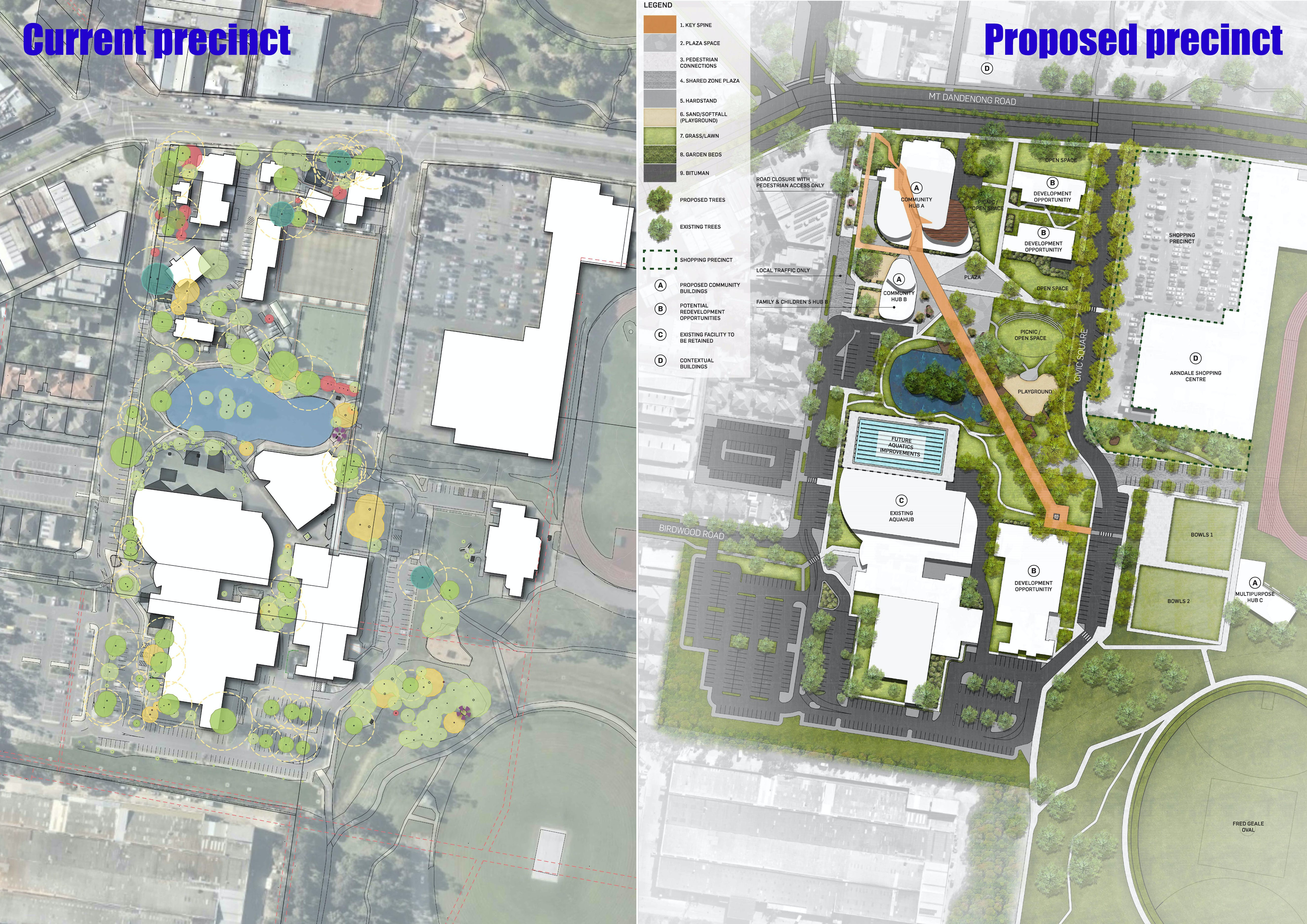 Before And After Images of the precinct