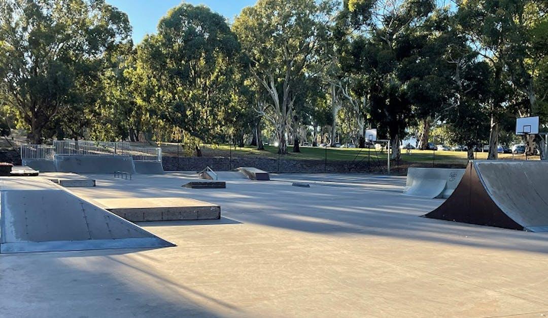 Image of temporary skate park facilities in King Rodney Park/ Ityamai-Itpina (Park 15)